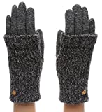 MIRMARU Women's Winter Wool Blend Double Layer Knitted Warm Gloves(OneSize, G01,Charcoal)