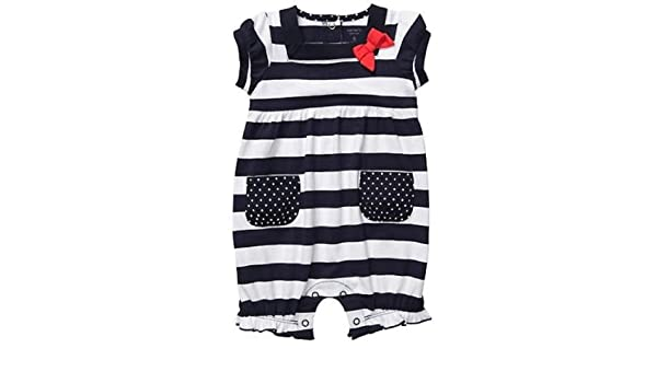 0f44edce78b7 Amazon.com  Carter s Baby Girls Cotton Knit Bubble Romper - Navy White  Stripe (6 Months)  Baby