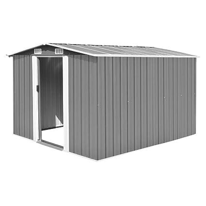 Festnight Caseta de Jardín de Metal para Almacenamiento de Herramientas con 4 Ventilaciones Gris 257x298x178 cm