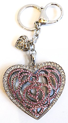 "Unique & Custom 1 Single Medium Size ""Split"" Circle Keychain Ring Made of Metal w/ Rhinestone Bling Filigree Heart Style Charm Made of Metal {Pink & Silver Color} w/ Lobster Claw Clip"