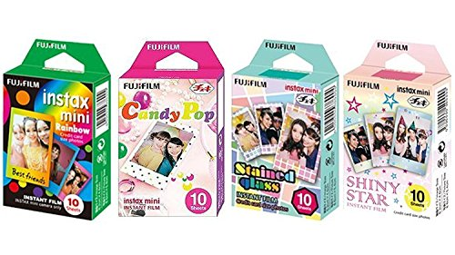 Film Fast - Fujifilm InstaX Mini Instant Film Rainbow & Staind Glass & Candy Pop & Shiny Star Film -10 Sheets X 4 Assort Value Set