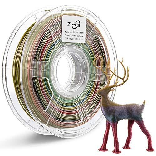 0.03 mm Zi-Rui Marble Color 3D Printer PLA Filament,Sparkly Black,1.75mm,Dimensional Accuracy+// 2.2LBS.