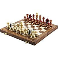 """CHESSNCRAFTS Rajasthani Hand Painted Chess Board Game Set- RED STAUTON Wooden Chess Men with Folding Chess Board 14"""" X 14""""- Best for Gifting, Home Decor & Playing."""