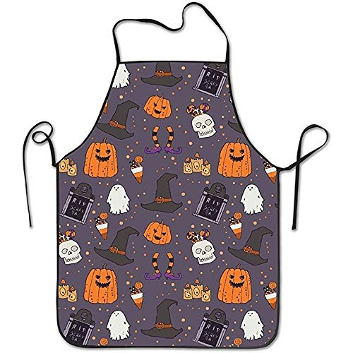 GOOESING Funny Design Apron Halloween Pumpkins Headstone Witches Hat for Women Men Waitress Chef Home Barber Kitchen Gardening