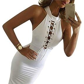 Female sexy Dress,kaifongfu bandage Club Bodycon Hollow-sleeveless cocktail party tie dress