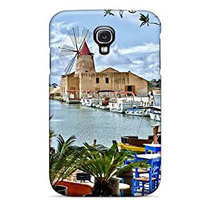 High Quality Shock Absorbing Case For Galaxy S4-restaurant Overlooking Sicilian Windmill Hdr