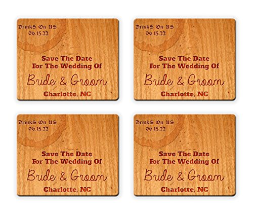 (BleuReign(TM) Personalized Custom Save The Date Drinks On Us Beverage Coaster Wedding Favor Set of 25 Square Coasters)