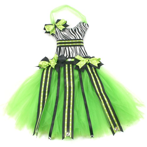 Girls Baby Hair Bow and Clip Holder Organizer (Zebra/Lime Green)