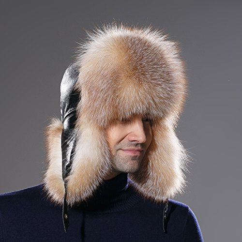 732579755131c URSFUR Winter Mens Trapper Hat Real Leather and Fox Fur Russian Ushanka Cap  by URSFUR (
