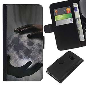 A-type (Deep Meaning God Creator Night) Colorida Impresión Funda Cuero Monedero Caja Bolsa Cubierta Caja Piel Card Slots Para HTC One M7