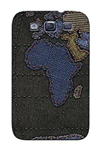 Ellent Galaxy S3 Case Tpu Cover Back Skin Protector Stitched World Map For Lovers' Gifts