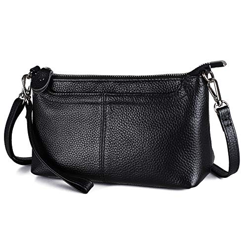 Befen Women's Leather Wristlet Mini Crossbody Bag, Small Shoulder Bag Clutch Purse with Card Slots (Multi-Pocket Black)