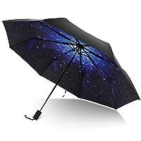 TRADE 8 Rib Travel Umbrella 3 Foldable Waterproof Galaxy Pattern Umbrellas with Comfortable Handle