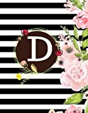 D: Floral Frame Monogram Initial D Composition Journal diary Notebook Gift To Write in For Her, Women, Men, Ladies, Girls, 160 Pages Paperback (Floral Monogram Collections) (Volume 30)