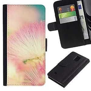 iKiki Tech / Cartera Funda Carcasa - Pink White Teal Nature Spring - Samsung Galaxy Note 4 SM-N910F SM-N910K SM-N910C SM-N910W8 SM-N910U SM-N910