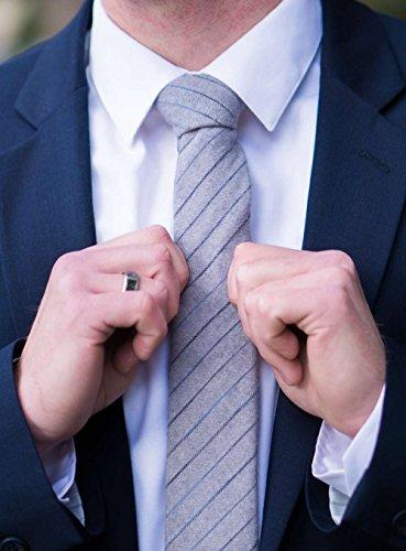 DAZI Men's Skinny Tie, Cotton Wool Linen Necktie, Great for Weddings, Groom, Groomsmen, Missions, Dances, Gifts. (Nightwalk) by DAZI (Image #1)