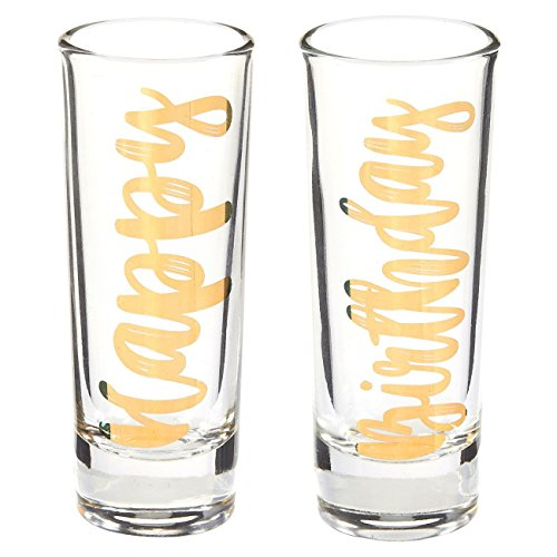 Novelty Birthday Gift - Happy Birthday Shot Glasses Pair with Gold Foil Print for Celebrating, Party Favors- Set of 2, 2 oz -