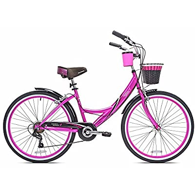 """Kent 26"""" Susan G Komen Women's Sturdy Steel Frame, Padded seat, Standard pedals, Pink rims and Strong Linear Pull Brakes Pink Cruiser Bike"""