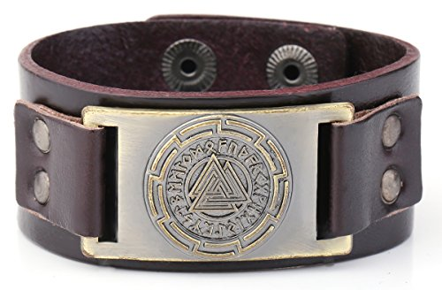 Vintage Nordic Wicca Odin's Symbol Metal Connector Cuff Bracelet For Men Women Jewelry (brown wristband antique ()