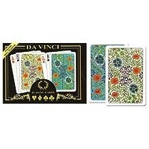 Da Vinci Fiori, Italian 100% Plastic Playing Cards, 2-deck Set, W/hard Shell Case & 2 Cut Cards; Choose from Poker Size Jumbo Index or Bridge Size Regular Index