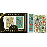 Da Vinci Fiori, Italian 100% Plastic Playing Cards, 2-deck Set, W/hard Shell Case & 2 Cut Cards; Choose from Poker Size Jumbo Index or Bridge Size Regular Index