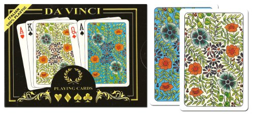 Da Vinci Bicycle - DA VINCI Fiori, Italian 100% Plastic Playing Cards, 2-Deck Bridge Size Regular Index Set, with Hard Shell Case & 2 Cut Cards