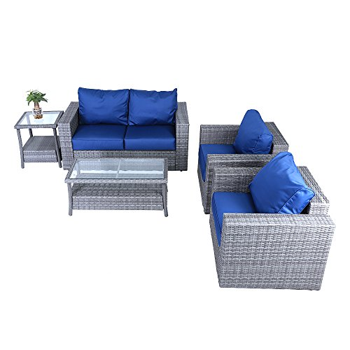 windaze 5pc Outdoor PE Wicker Rattan Sectional Furniture Set with Dark Blue Seat and Back Cushions, Aluminum Frame, Gray price