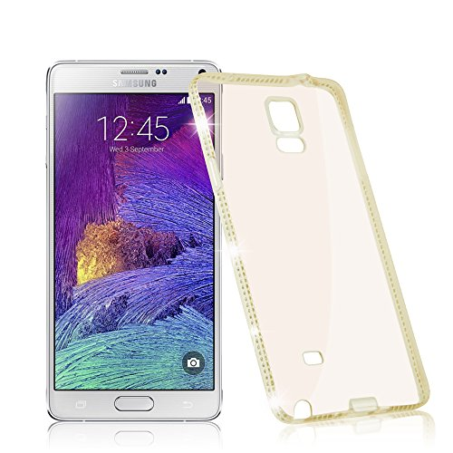 Cadorabo Case Works with Samsung Galaxy Note 4 in Diamond Gold (Design Strass) - Shockproof Scratch Resistant Gel Case Protective Shell Bumper Skin Back Cover