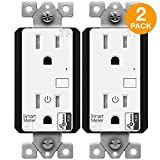 Enerwave ZW15RM-PLUS Z-Wave Plus Wall Outlet with Smart Meter Energy Monitor, Smart Outlet, Z-Wave Outlet, App-Controlled Outlet for Z-Wave Home Automation, Interchangeable Face Covers, 2-Pack