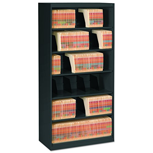 Tennsco FS360BL Open Fixed Shelf Lateral File, 36w x 16 1/2d x 75 1/4, Black