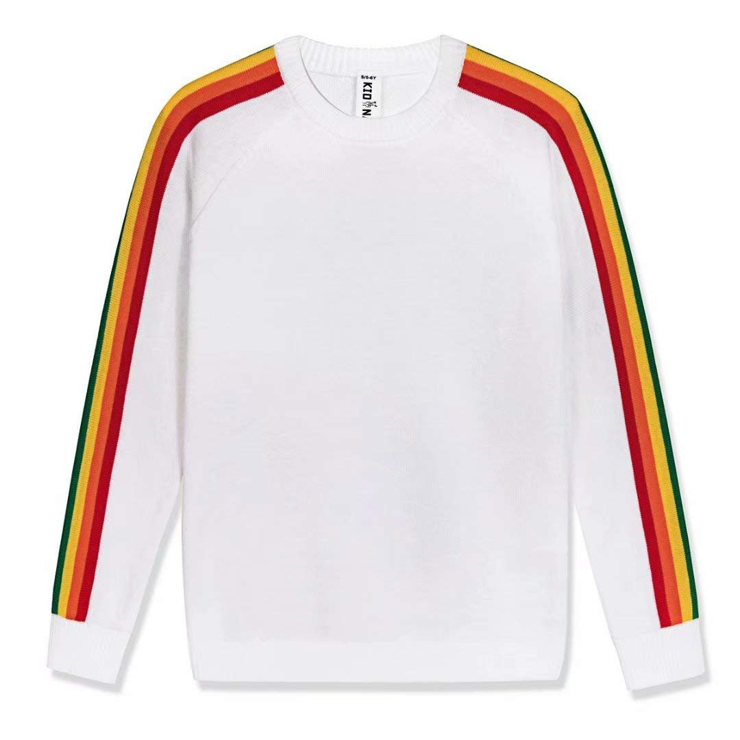 Kid Nation Kids Sweater Pullover Long Sleeve with Rainbow Stripe Size S White