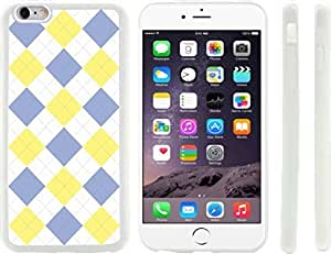 Blue and Yellow on White Argyle Design iPhone 6 Plus Case Cover (Clear Rubber with raised front bumper protection) for Apple iPhone 6 Plus sell on Zeng case