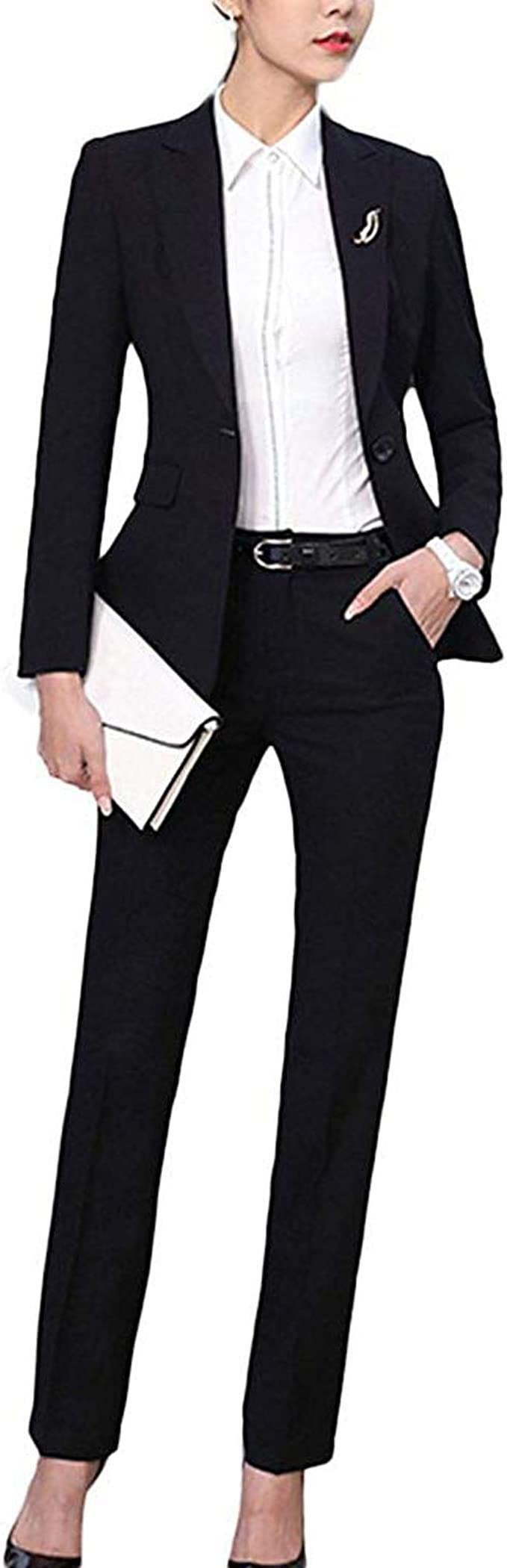 YSMO Damen Slim 2 Stück Blazer Hose Jackst Anzüge Set
