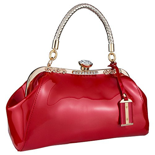 Bagood Women's Patent Leather Glossy Shell Handbag Clutches Shoulder Evening Bags for Party Red