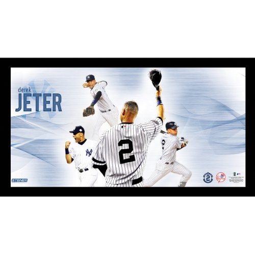 Steiner Sports MLB New York Yankees Derek Jeter #2 Career Highlight 9.5x19 7331 Style Framed Photo