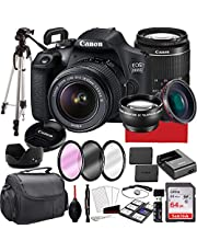 Canon EOS 2000D (Rebel T7) DSLR Camera with 18-55mm f/3.5-5.6 Zoom Lens, 64GB Memory,Case, Tripod and More (28pc Bundle)