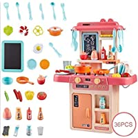 LIONFOR Toys 36 Pcs Toy Kitchen Sets, Simulated Spray Kitchen Toys, Kids Kitchen Pretend Play Set,Play Cooking Set