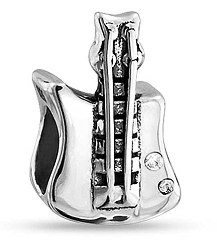 Bling Jewelry Sterling Silver CZ Rock Electric Guitar Bead Charms (Guitar Bead)