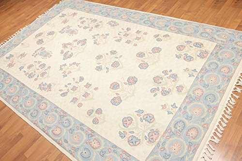 6'x9' Hatrica Beige Blue Pale pink, Rose, light Green, Mult Hand Woven French Needlepoint Aubusson Wool Traditional Oriental Area ()