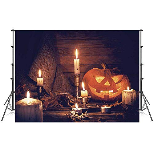 Halloween Stylish Backdrop,Rustic Home Wooden Planks Burning Candles Pumpkin Sackcloth Harvesting Holiday Decorative for Photography Festival Decoration,86''W x 59''H -