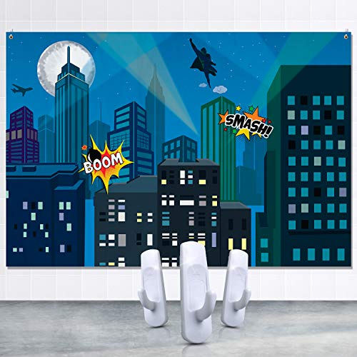 Superhero City Backdrop for Kids Birthday Party Decoration, Cityscape Background for Photography, Photobooth and Studio, Banner for Indoor and Outdoor Events, 7x5 Feet, Set of Hanging Hooks Included