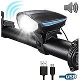 Flipcase Bike Light,USB Bike Light,Bicycle Headlight with Super Loud Bike Horn 120 DB Super Bright Waterproof 3 Lighting Modes USB Rechargeable Bicycle Light