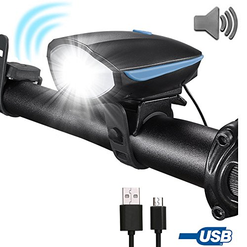 120 Bike Light - Flipcase Bike Light,USB Bike Light,Bicycle Headlight with Super Loud Bike Horn 120 DB Super Bright Waterproof 3 Lighting Modes USB Rechargeable Bicycle Light