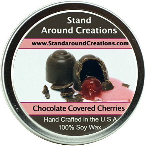 Premium 100% All Natural Soy Wax Aromatherapy Candle - 4oz Tin - Chocolate Covered Cherries: Sweet maraschino cherries smothered in milk chocolate, with a dry down of French vanilla.