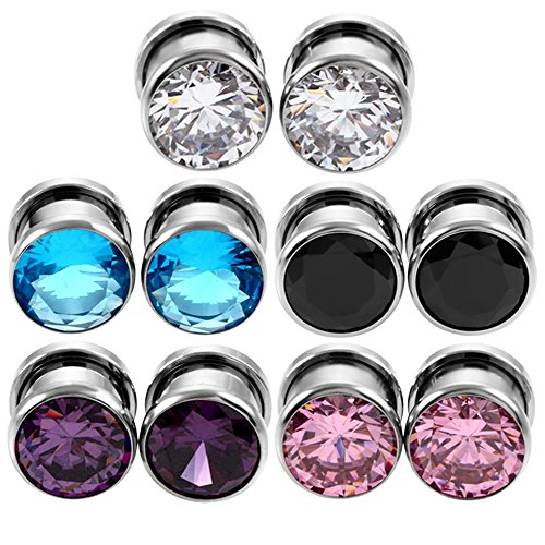 XPIRCN 6G-00G Stainless Steel Cubic Zirconia Screw Tunnels Ear Stretcher Plugs Piercing Gauges (2 Gauge Earrings)