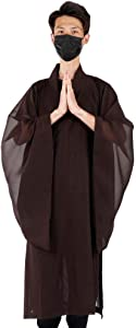 Buddhist Costume Monk Robes Yarn Fabric Zen Buddhist Robe Meditation Long Gown for Buddhist Shaolin Monk (#36)