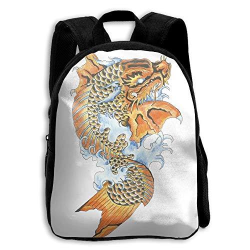 Koi Dragon Tattoo School Backpack Children Shoulder Daypack Kid ()