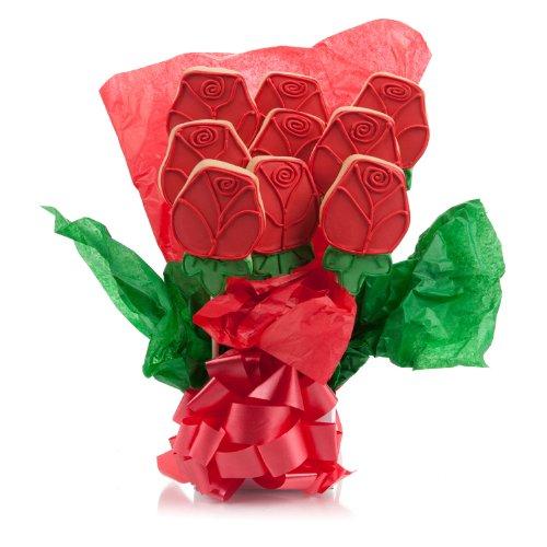 valentines cookie bouquets - Red Roses Cookie Bouquet- 9 Pc Bouquet