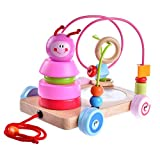 Yikky Push-pull Toy Car Caterpillar, Bead Maze, Wooden Stacker & Mirror 4-in-1 Wooden Toy Set for Babies Toddlers Age 18 Months and Up
