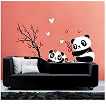 ufengke® Cute Pandas Red Plum Blossom Wall Decals, Living Room Bedroom Removable Wall Stickers Murals